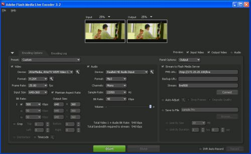 Так выглядит Flash Media Live Encoder